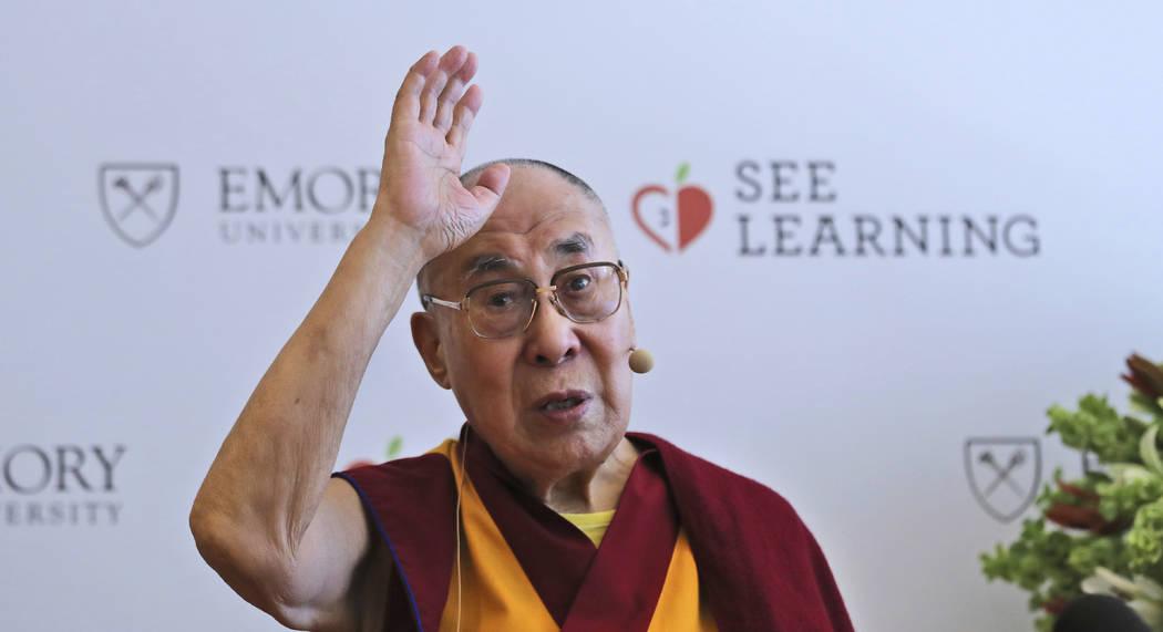 FILE - In this April 4, 2019, file photo, Tibetan spiritual leader the Dalai Lama speaks during ...