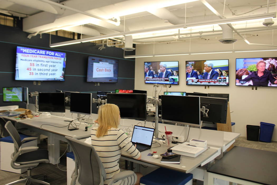 Campaign staff is starting to occupy the war room at the Trump re-election campaign's Virginia ...