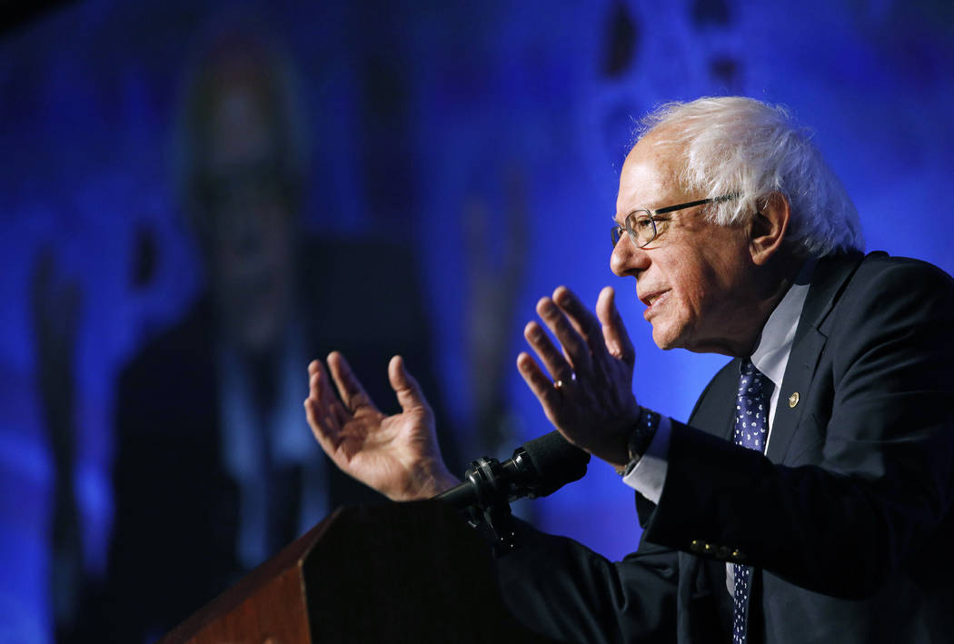 In this April 8, 2019, photo, Democratic presidential candidate Sen. Bernie Sanders, I-Vt., spe ...