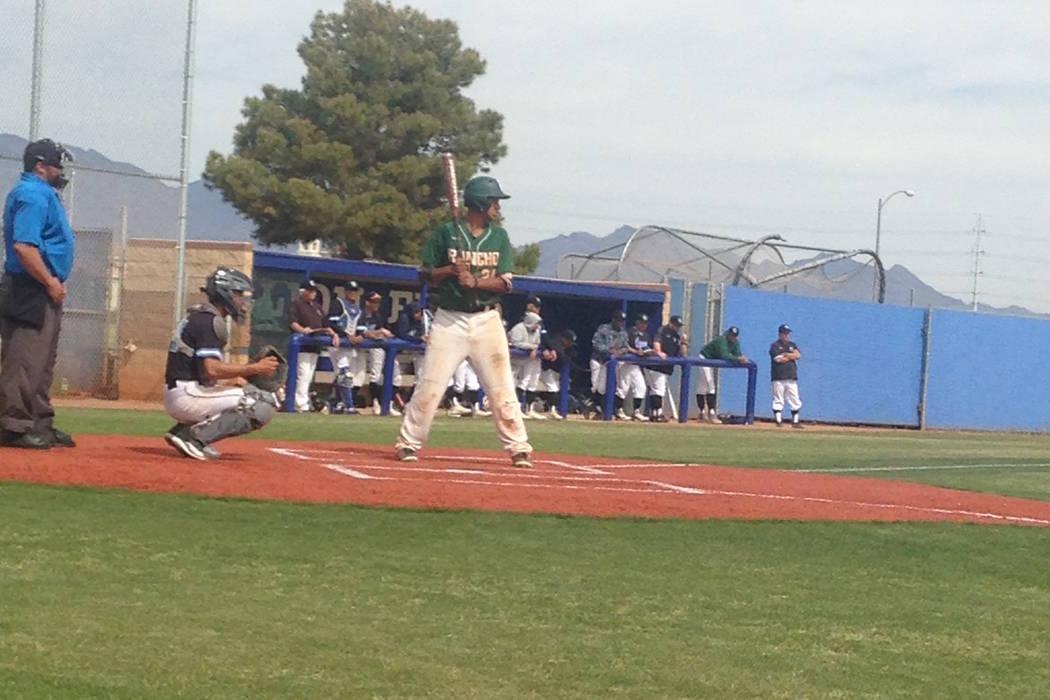 Rancho's Jairo Verdugo prepares to hit against Carson (California) in their game at Sierra Vist ...