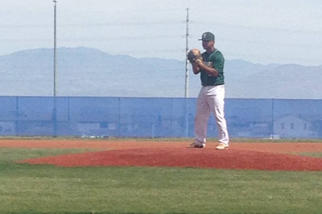 Rancho's Raymond Minero prepares to deliver a pitch against Carson (California) in their game a ...