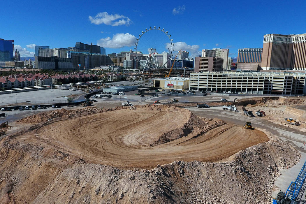 An aerial photo of the construction site of the MSG Sphere at The Venetian, a collaboration bet ...