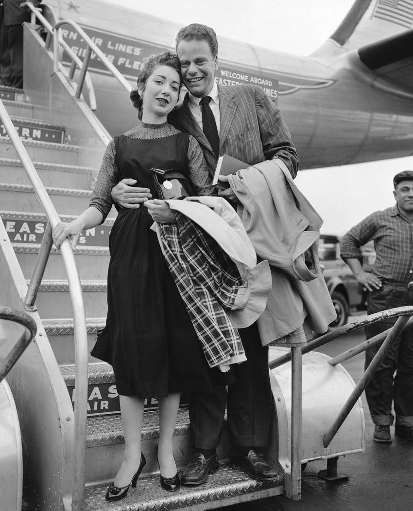 FILE - In this April 2, 1957 file photo, Charles Van Doren and his bride, the former Geraldine ...