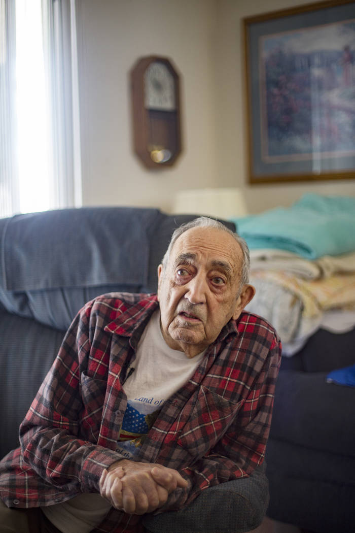 "Onofrio ""No-No"" Zicari, 96, speaks to the Review-Journal at his home in Las Vegas, Th ..."