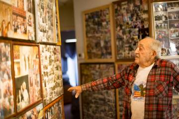 "Onofrio ""No-No"" Zicari, 96, shows the Review-Journal photos of his time in World War ..."
