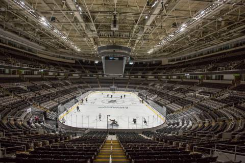 The Golden Knights work through drills during morning skate ahead of game one of the NHL Wester ...