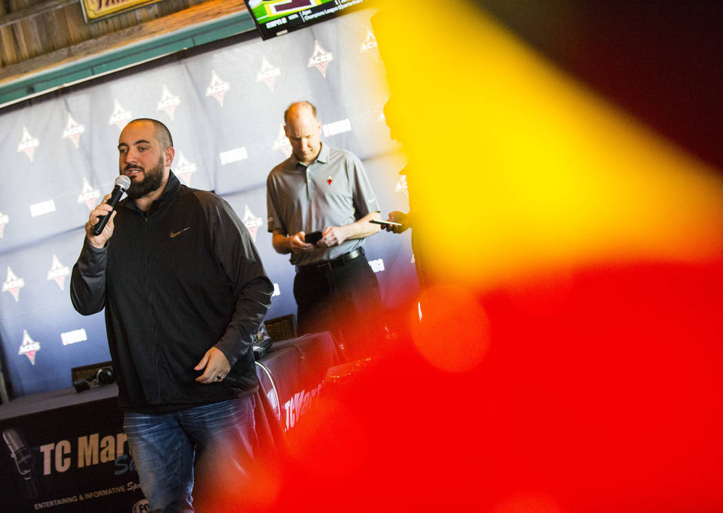 Wayne 'Big D' Danielson speaks during a watch party for the WNBA draft at Miller's Ale House in ...