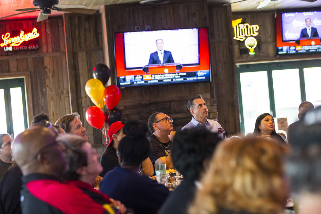 Las Vegas Aces supporters watch the WNBA draft at Miller's Ale House in Las Vegas on Wednesday, ...