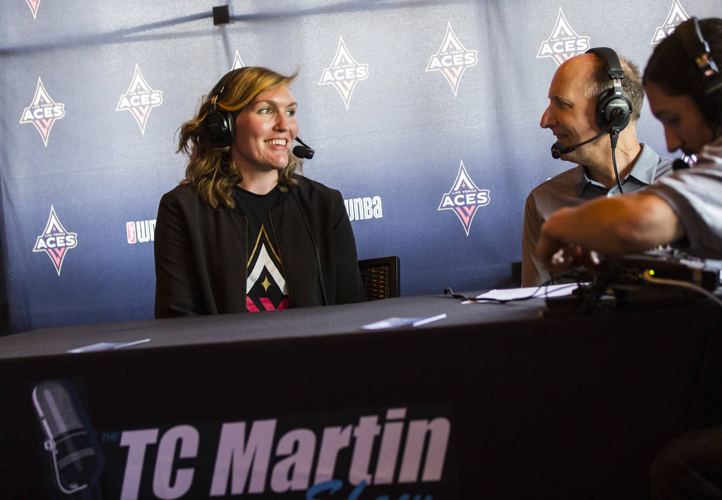 Las Vegas Aces player Carolyn Swords is interviewed by TC Martin during a watch party for the W ...
