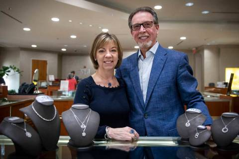 Owners Darlene and Cliff Miller pose for a portrait at the MJ Christensen Diamonds store in Las ...