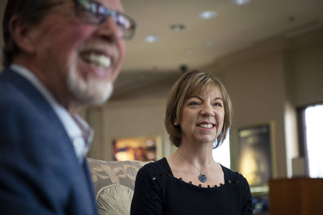 Owners of MJ Christensen Diamonds Cliff, left, and Darlene Miller talk about their business dur ...