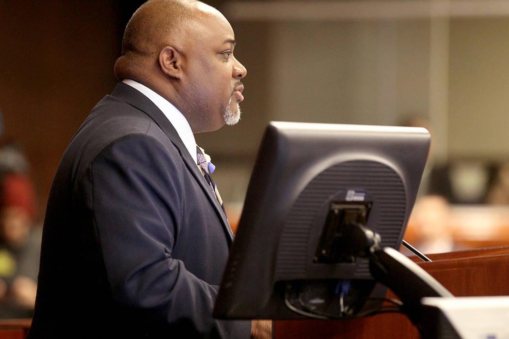Speaker Jason Frierson, D-Las Vegas, presides during an Assembly floor session in the Legislati ...