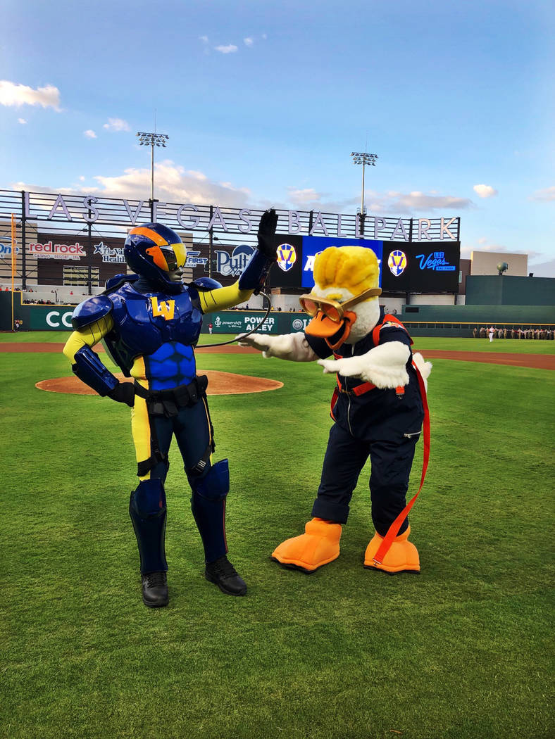 The new mascots for the Las Vegas Aviators: Spruce and Aviator made their Southern Nevada debut ...
