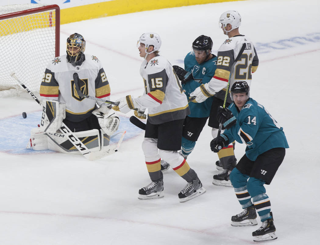 San Jose Sharks center Gustav Nyquist (14) celebrates after teammate Joe Pavelski (out of frame ...