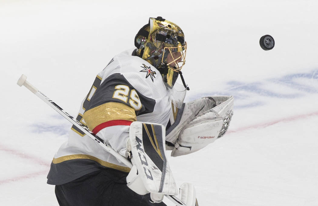 Golden Knights goaltender Marc-Andre Fleury (29) makes a save in the first period during game o ...