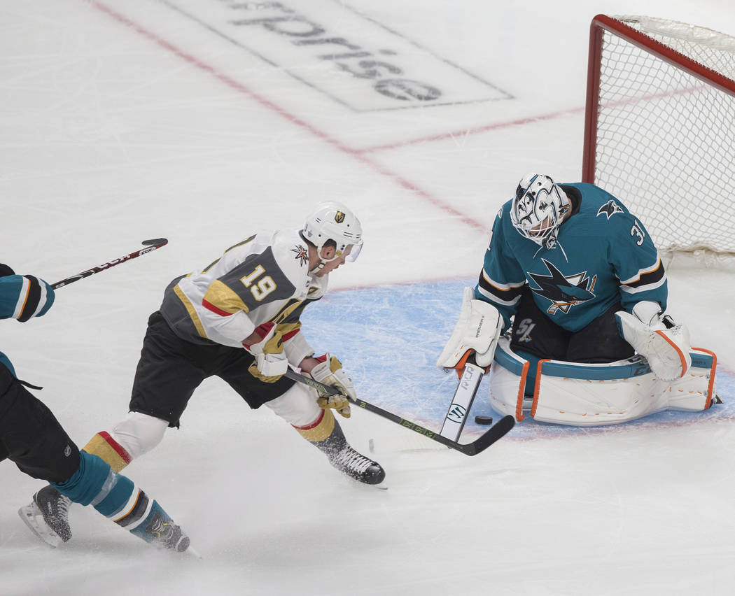 Golden Knights right wing Reilly Smith (19) shoots on San Jose Sharks goaltender Martin Jones ( ...