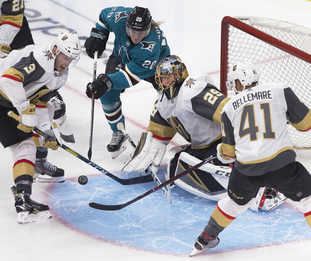 Golden Knights goaltender Marc-Andre Fleury (29) makes a save against San Jose Sharks left wing ...