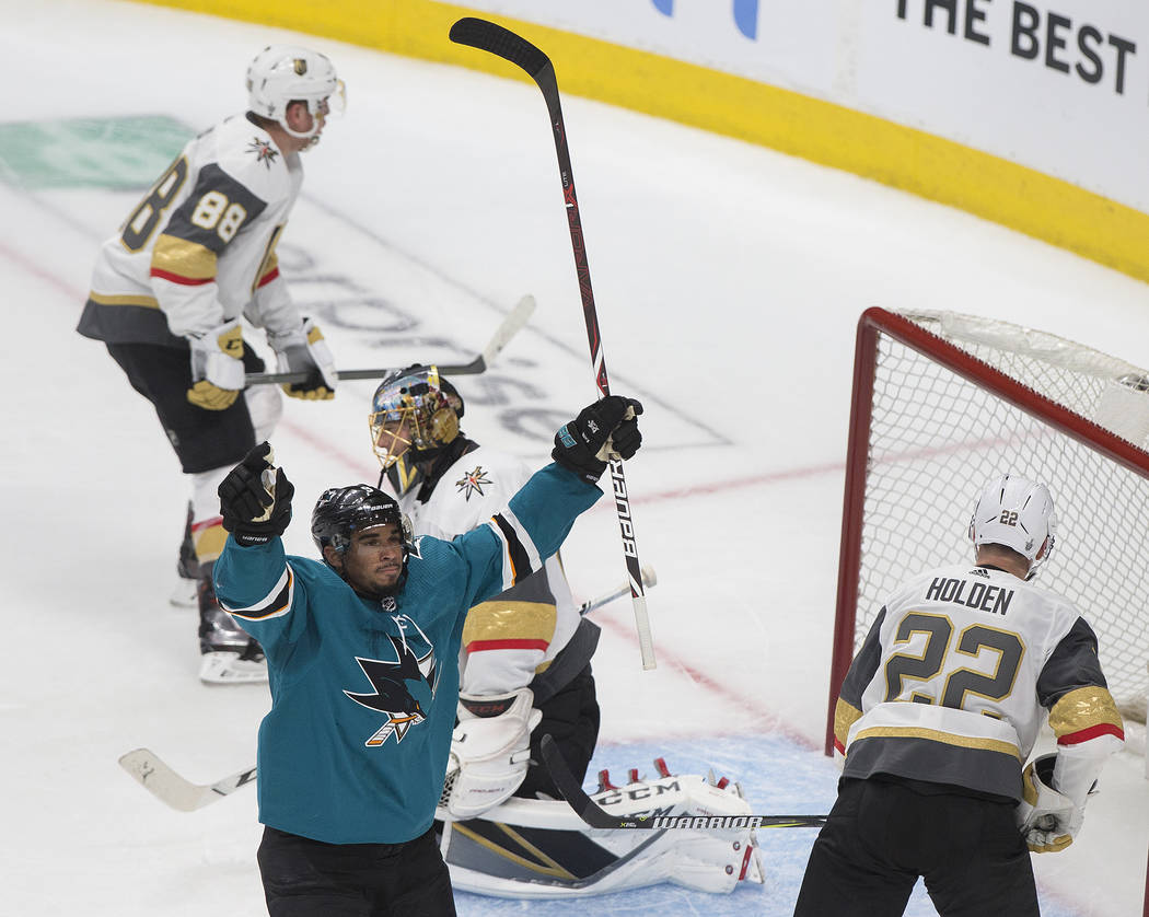 San Jose Sharks left wing Evander Kane (9) celebrates after scoring a goal in the second perio ...
