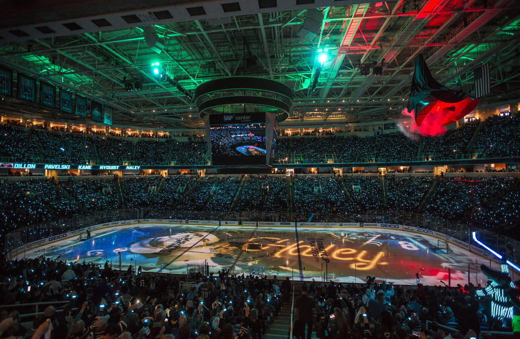 The SAP Center is packed for game one of the NHL Western Conference quarterfinals between the G ...