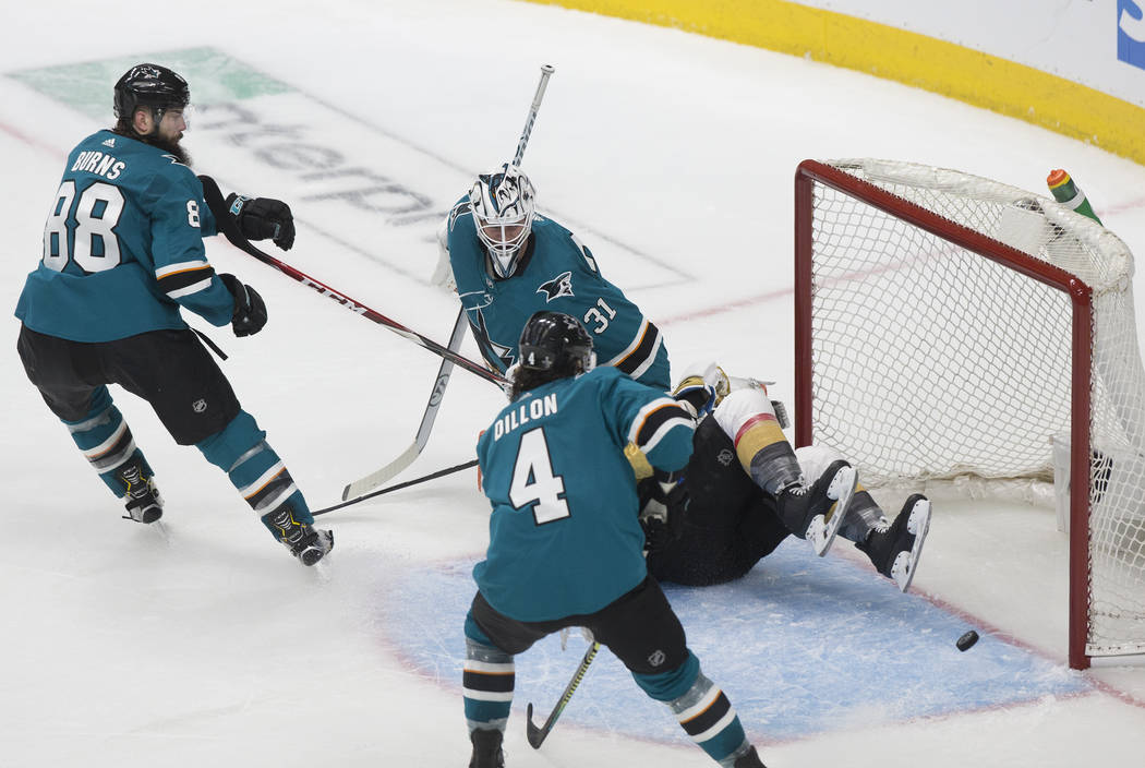 San Jose Sharks goaltender Martin Jones (31) makes a save in the third period during game one o ...