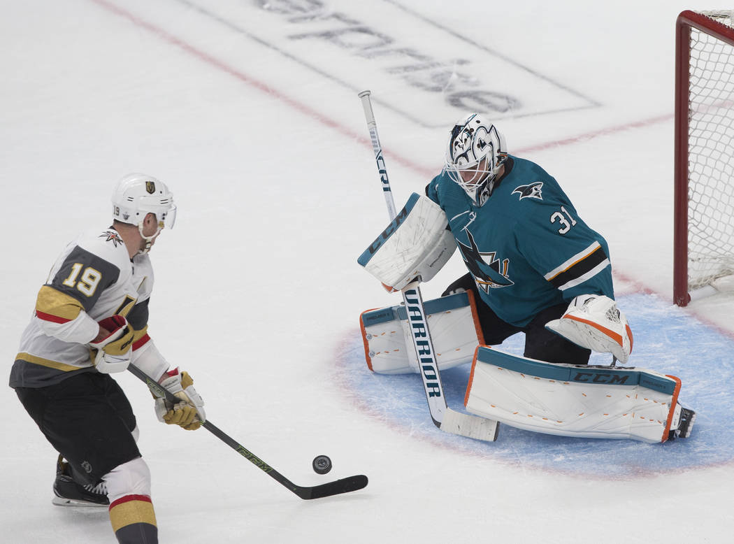 San Jose Sharks goaltender Martin Jones (31) makes a save against Golden Knights right wing Rei ...