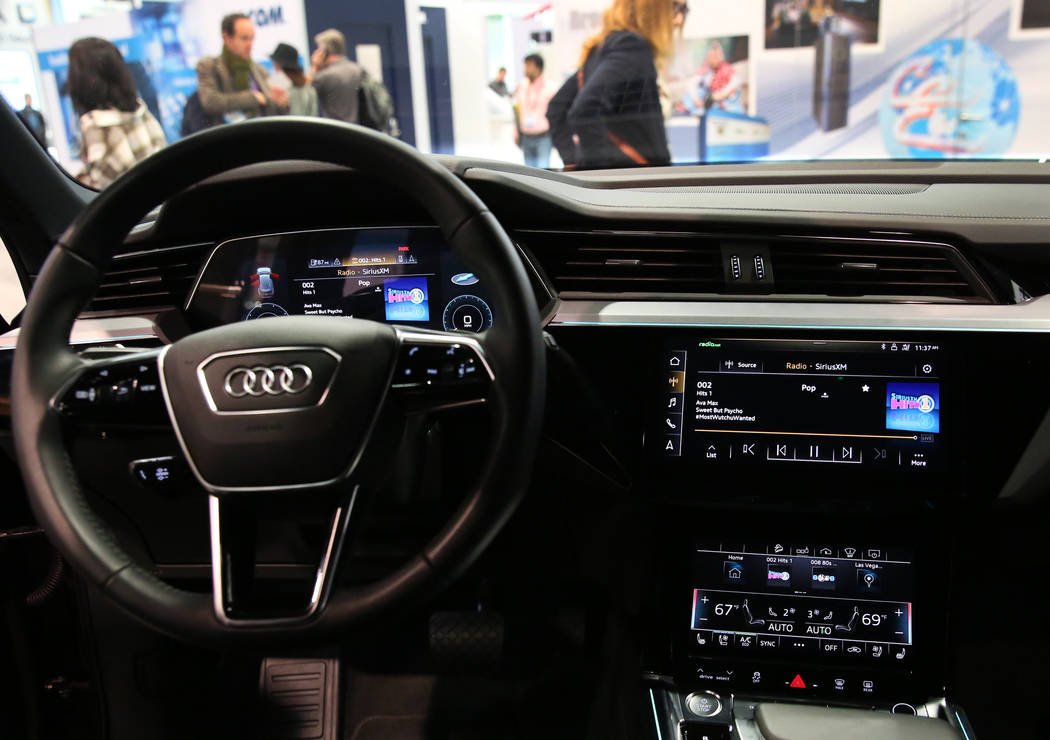 Digital dashboard display is seen inside Audi e-tron during the National Association of Broadca ...