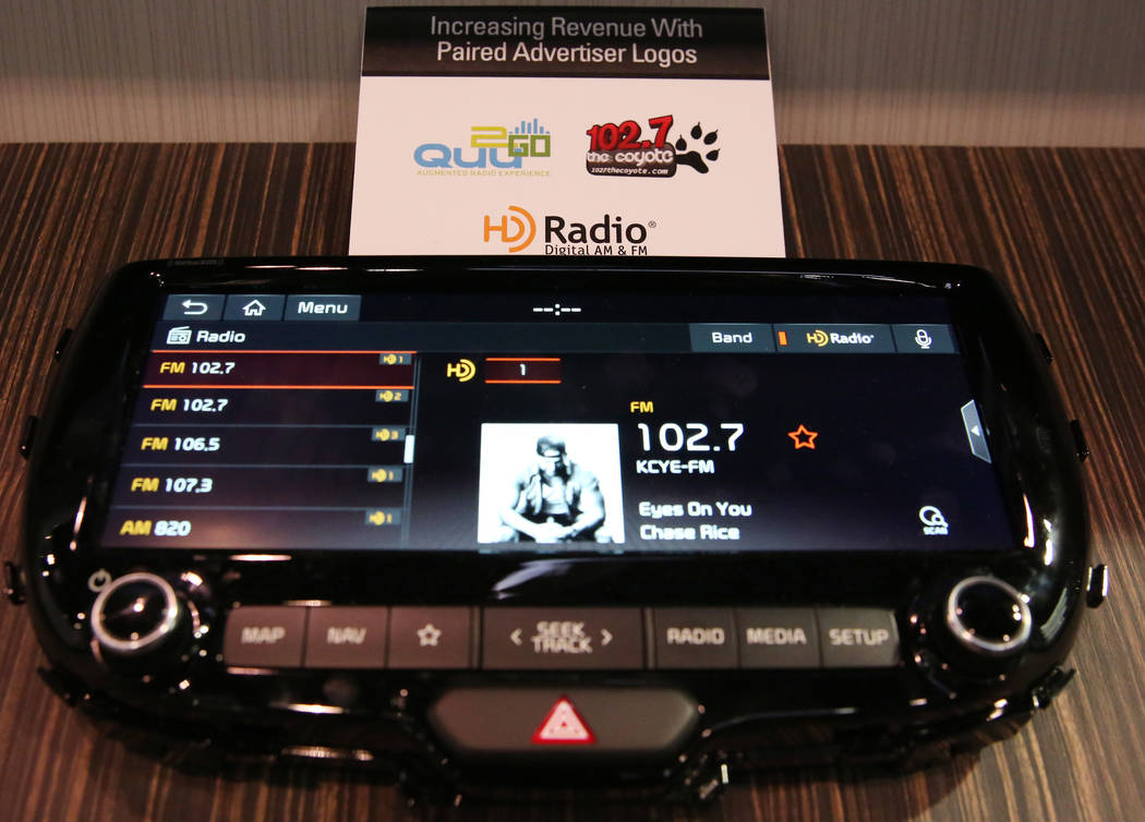 An HD Radio digital display is seen during the National Association of Broadcasters (NAB) show ...