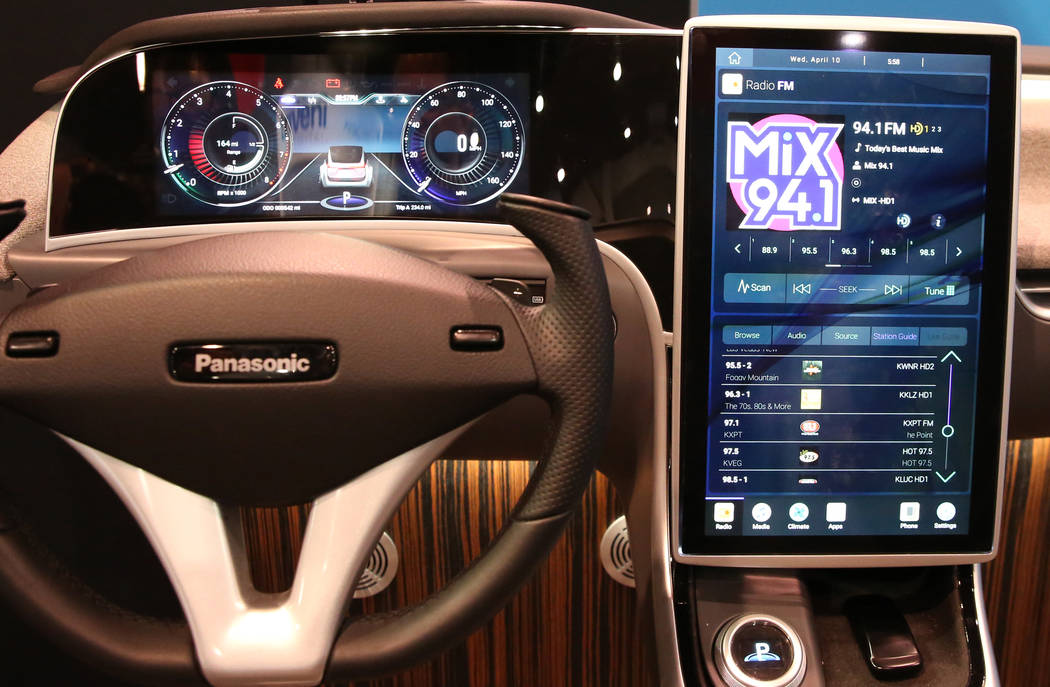 The Panasonic Skip Generation (SkipGen) vehicle dashboard display is seen during the National A ...