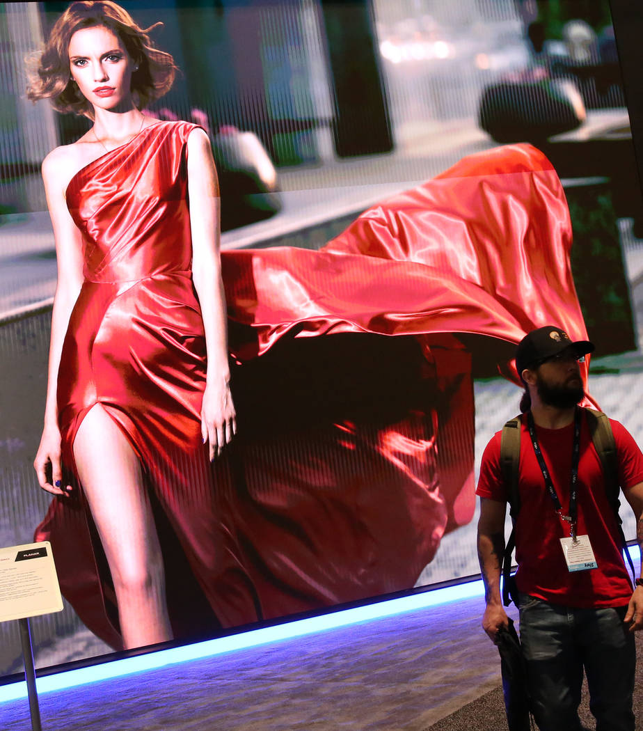 LEYARD 8K LED video wall is seen during the National Association of Broadcasters (NAB) show at ...