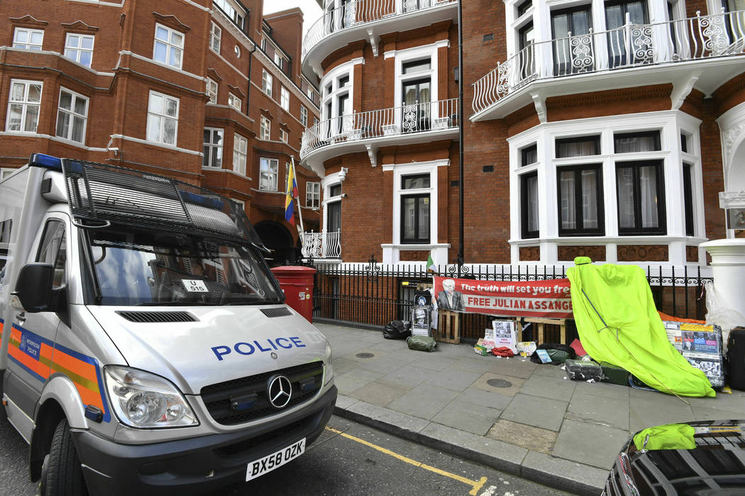 A police vehicle parked outside the Ecuadorian Embassy in London, after WikiLeaks founder Julia ...