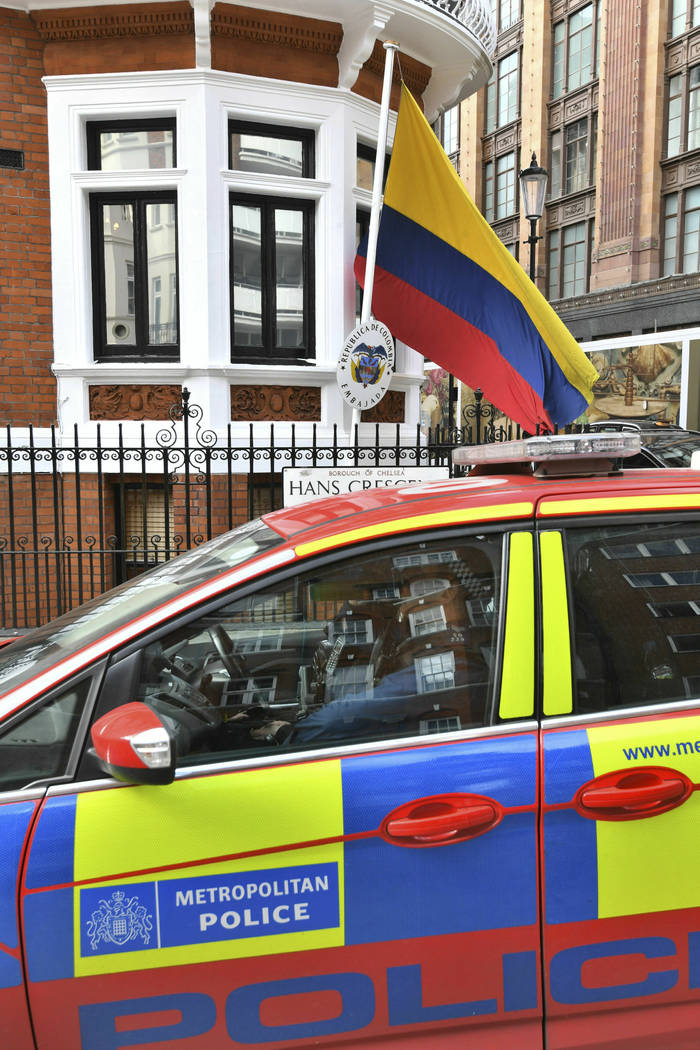 A police car parked outside the Ecuadorian Embassy in London, after WikiLeaks founder Julian As ...