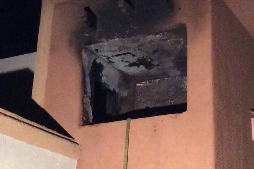 Damage from patio fire at the St. Croix Apartments, 6661 Silverstream Ave., Thursday, April 11, ...