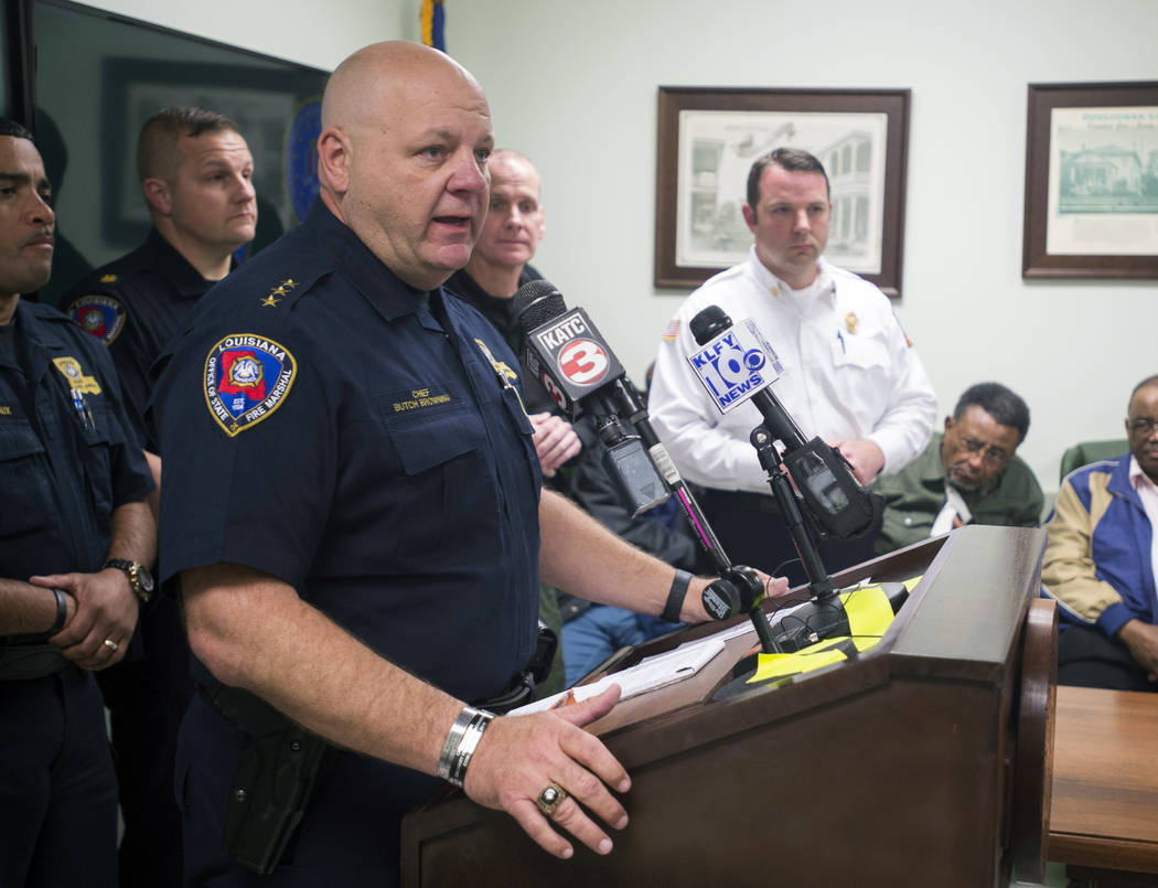 "Louisiana State Fire Marshal H. ""Butch"" Browning speaks during a press conference add ..."