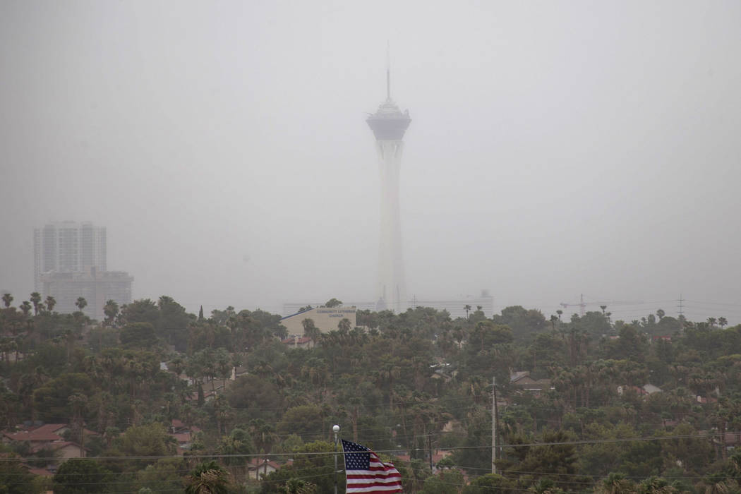 The Stratosphere observation tower is seen through a dust storm on Saturday, July 21, 2018. Ric ...