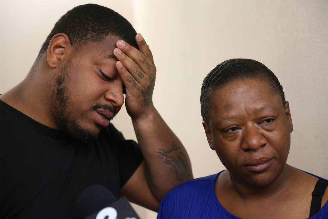 Danaun Davis, left, and his mother Leticia, are interviewed about the death of his daughter La' ...
