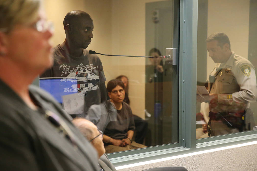 Ex-NFL player Cierre Wood during his initial court appearance at the Regional Justice Center in ...