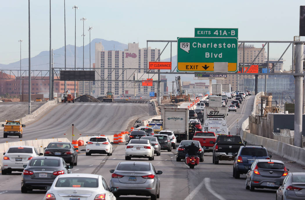 Traffic backs up in the northbound lanes of Interstate 15, near Charleston Boulevard Exit in La ...