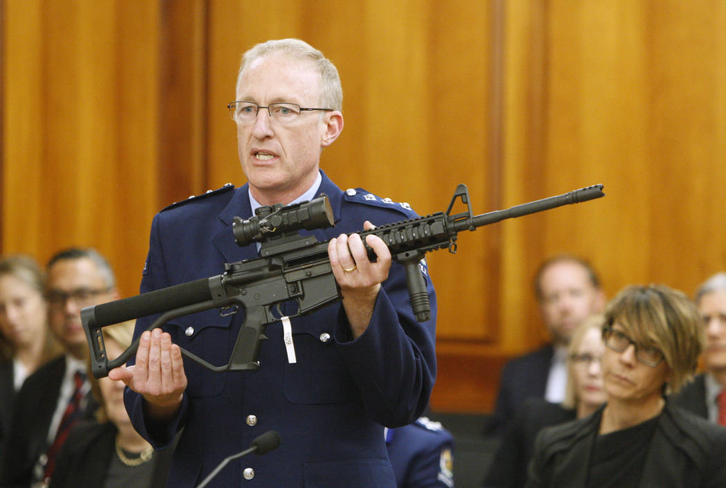 Police acting superintendent Mike McIlraith shows on April 2, 2019, New Zealand lawmakers in We ...