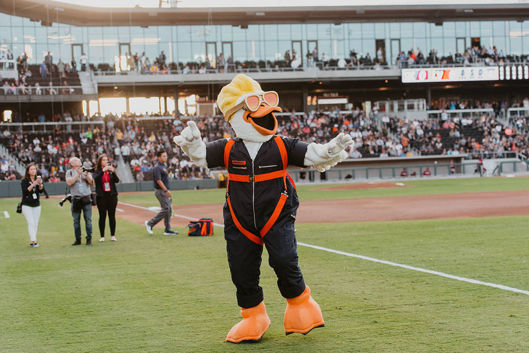 Aviators new mascot, Spruce, was a major fixture at the game. (The Howard Hughes Corp.)