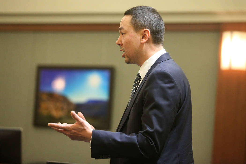 Prosecutor Thomas Moskal speaks during the sentencing hearing for Antonio Macedo at the Regiona ...