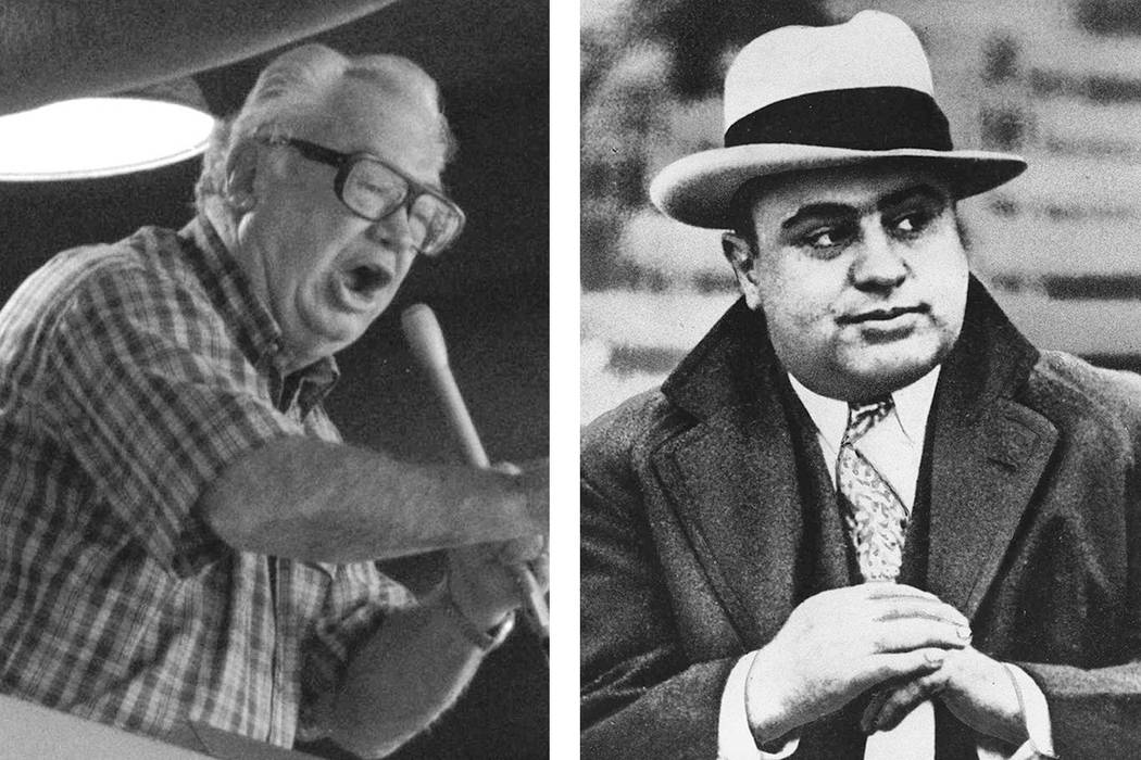 Harry Caray, left, and Al Capone (Associated Press file photos)