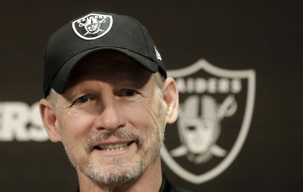 Oakland Raiders general manager Mike Mayock speaks during an NFL football news conference in Al ...