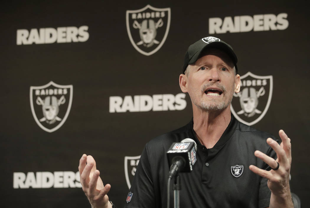 Oakland Raiders general manager Mike Mayock speaks during a news conference at the team's NFL f ...