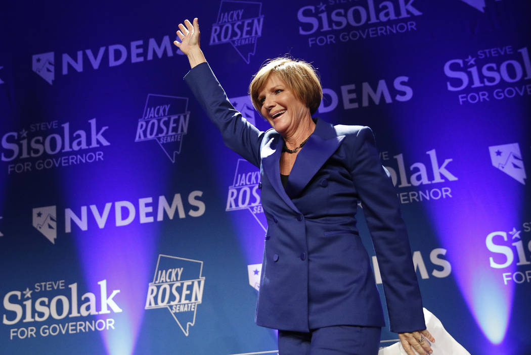 Susie Lee, a Democratic candidate for Nevada's third congressional district, takes the stage at ...