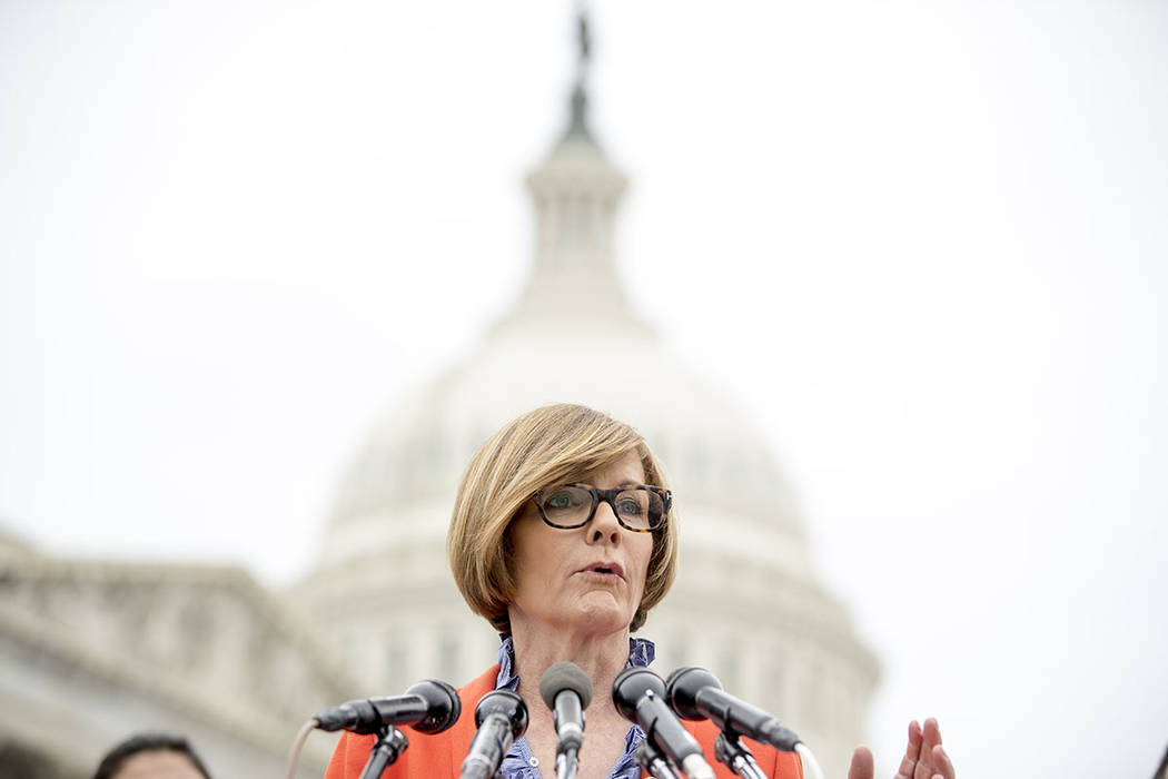 Rep. Susie Lee, D-Nev., speaks at a news conference on Capitol Hill in Washington, Thursday, Ja ...