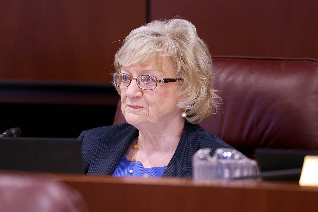 Sen. Joyce Woodhouse, D-Henderson, leads a joint meeting of the Senate Finance Committee and th ...