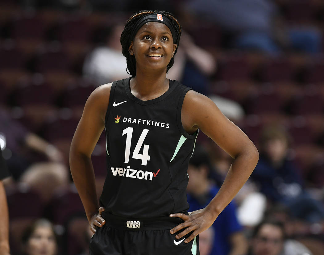 New York Liberty's Sugar Rodgers during a preseason WNBA basketball game, Wednesday, May 8, 201 ...