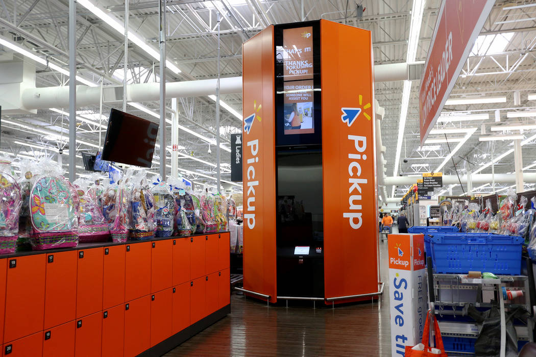 The pickup tower at the Walmart in Henderson, Thursday, April 11, 2019. Customers make orders o ...