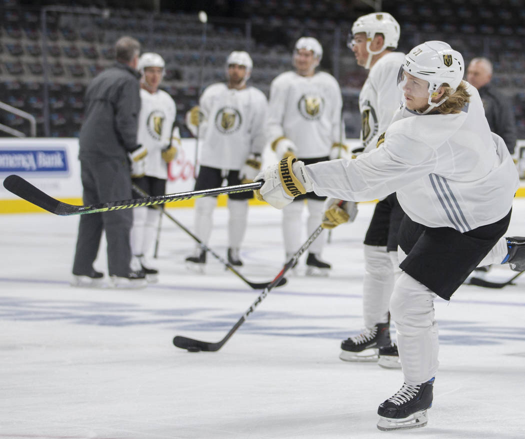 Golden Knights center William Karlsson (71) shoots on goal during practice on Thursday, April 1 ...