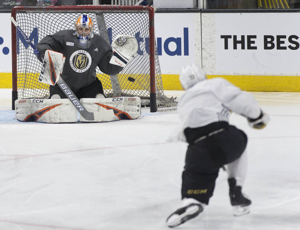 The Golden Knights work through drills during practice on Thursday, April 11, 2019, at SAP Cent ...